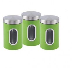 Canister Set 3 Piece with Window-Green