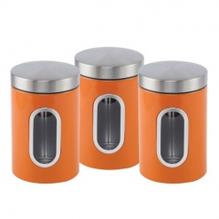 Canister Set 3 Piece with Window-Orange