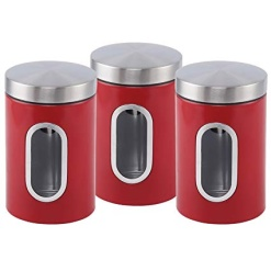 Canister Set 3 Piece with Window-Red