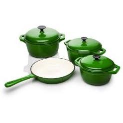 Cookware Set Cast Iron Green -7 Piece