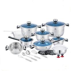 Cookware Set-Stainless Steel Heavy Duty Blue Glass Lids-24 Piece