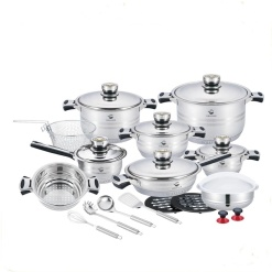 Cookware Set-Stainless Steel Heavy Duty Solid Lids-24 Piece