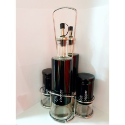 Cruet Set - Oil, Vinigar, Pepper, Black - 5 Piece