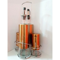 Cruet Set - Oil, Vinigar, Pepper, Rose Gold - 5 Piece