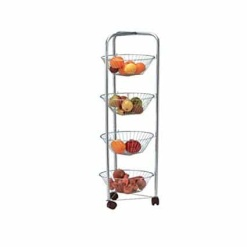Fruit Vegetable Trolley Storage Rack With Wheels