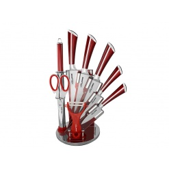 Knife Set with Rotating Block Stand Red-9 Piece