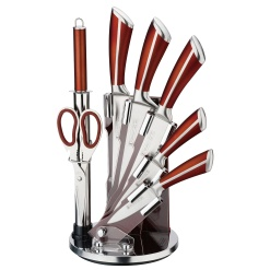 Knife Set with Rotating Block Stand Rose Gold-9 Piece