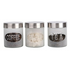 Canister Set Frosted Design - 3 Piece