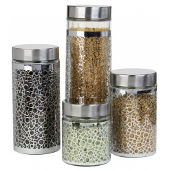 Canister Set Silver Ring Design - 4 Piece (Copy)