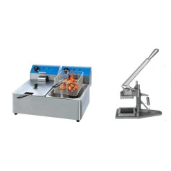 Electric Deep Fryer Double And Chip Cutter Combo