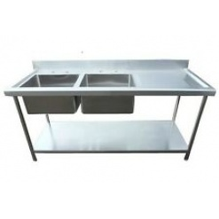 Commercial Stainless Steel Restaurant Kitchen Sink Unit-Double Bowl with Undershelf