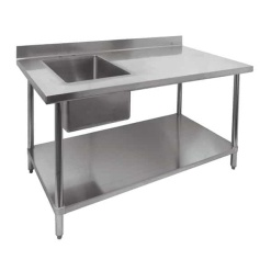Commercial Stainless Steel Restaurant Kitchen Sink Unit-Single Bowl with Undershelf
