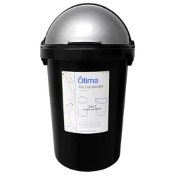Otima-Black Dustbin and Flip Lid-50 Litre